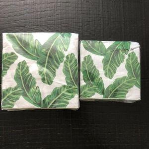 Banana Leaf Print Napkins Set of 2 Beverage/Dinner